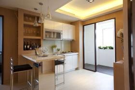 黄色简约风格厨房吧台装修案例