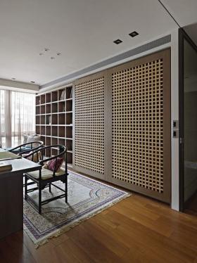 原木色中式风格书房装饰柜装修图