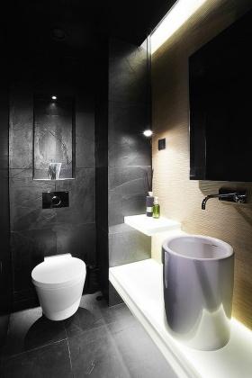 现代凝练时空感黑色卫生间设计装潢