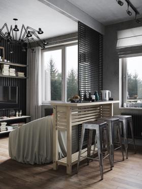 摩登时尚现代风格灰色吧台设计赏析