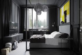 灰色摩登现代卧室装饰设计图片