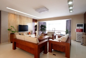 现代风格米色客厅背景墙装修案例