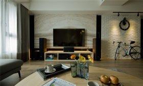 现代米色大理石客厅背景墙装修图片
