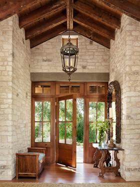 复古美式原木风格玄关设计图