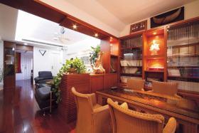 橙色混搭风格书房装修效果图片