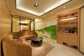 橙色新中式风格客厅装饰图