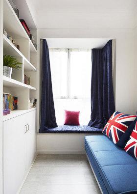 蓝色美式风格飘窗装修效果图片