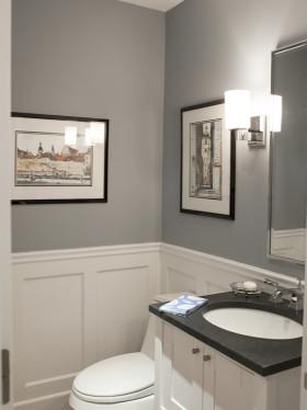 灰色现代风格卫生间墙面装饰设计
