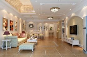 明亮典雅温馨田园风格客厅装潢设计图片