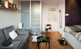 灰色宜家风格客厅隔断门效果图欣赏
