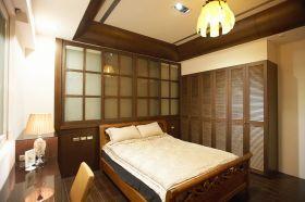褐色中式风格卧室床头背景墙美图欣赏