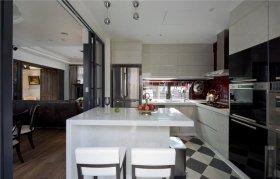 简洁美式风格厨房吧台装饰图