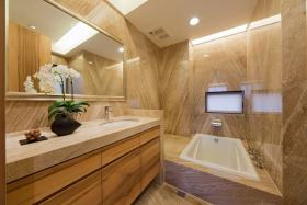 美式大气清爽橙色卫生间装修布置