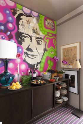 彩色美式风格背景墙设计图片