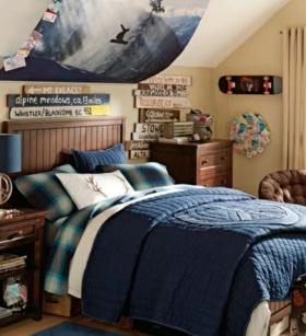蓝色美式风格儿童房装修赏析