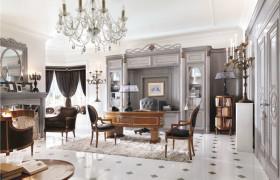 欧式灰色奢华书房装潢案例