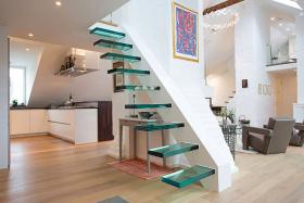 创意摩登混搭风格白色楼梯装修