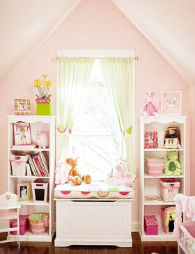 粉色浪漫雅致甜美简约风格飘窗装修案例
