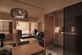 日式原木色客厅隔断设计图片
