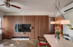 褐色东南亚风格客厅背景墙装饰案例
