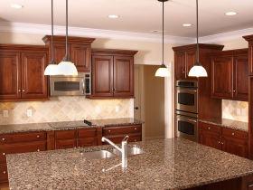原木色美式风格厨房橱柜装修设计