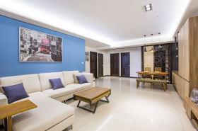 蓝色浪漫雅致清爽简欧风格客厅设计装潢