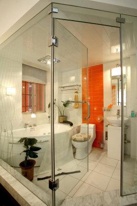 橙色创意自然现代风格卫生间装潢案例