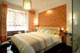 浪漫优雅田园风格橙色卧室装潢设计