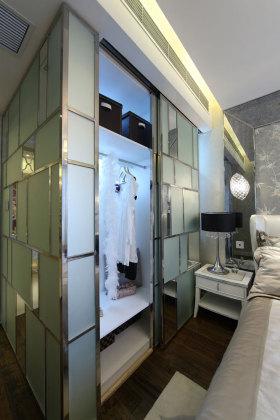 靓丽新古典灰色卧室衣柜装潢设计