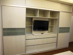 现代简约米色卧室电视背景墙效果图设计
