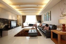 米色新中式风格客厅吊顶效果图设计