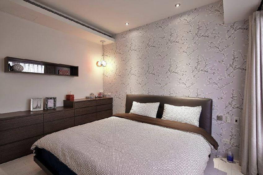 灰色新中式风格卧室壁纸装修赏析