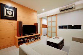 橙色日式风格客厅电视背景墙装修