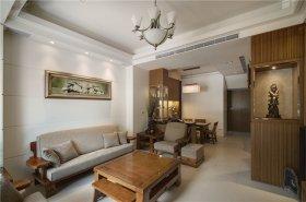 新中式古典原木色客厅美图欣赏