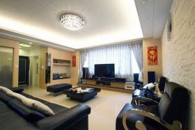 黑色现代风格大客厅装饰设计图片