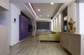 紫色简约风格客厅背景墙效果图欣赏