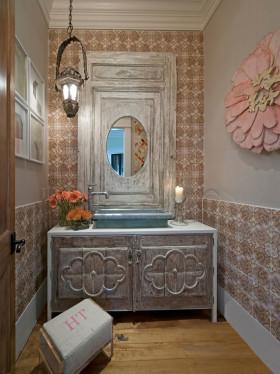 灰色东南亚风格卫生间浴室柜装修效果图片