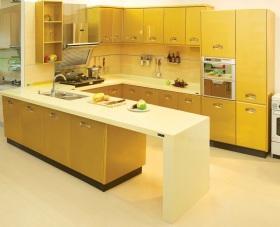 浪漫时尚黄色简约风格厨房橱柜装饰案例