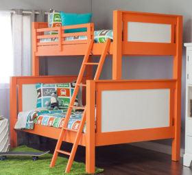 橙色简约风格儿童房高低床效果图设计