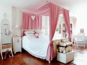 粉色北欧风格卧室床幔装潢设计