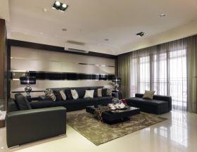 现代风格黑色客厅软装装修图片