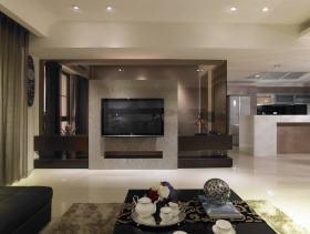 黑色简约风格客厅电视背景墙装潢设计
