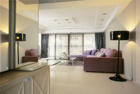 米色简约风格紫色客厅软装设计