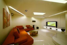 橙色简约风格客厅沙发装饰设计图片