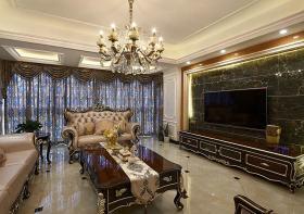 奢华大气新古典风格客厅装潢背景墙图片欣赏
