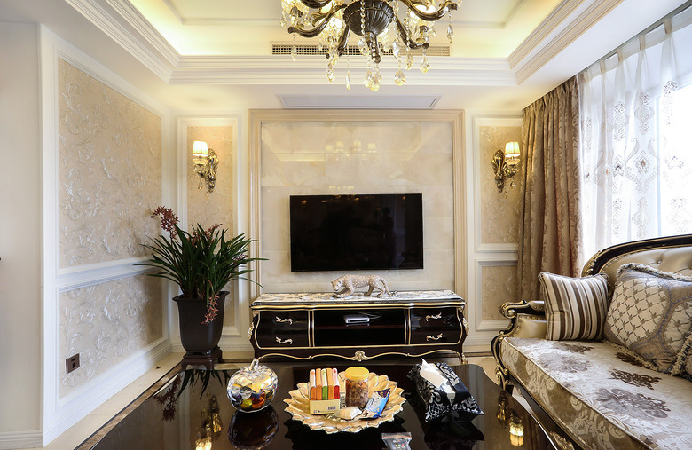 米色欧式风格客厅背景墙设计图