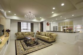 新古典风格黄色客厅装潢案例