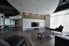 黑色现代风格客厅吊顶装潢案例