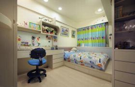 彩色简约儿童书房卧房一体式设计