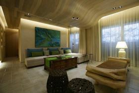 米色混搭风格客厅背景墙设计赏析